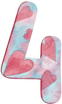 Numero quattro dell'acquerello con cuori e colori rosa e blu.