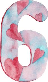 Numero sei dell'acquerello con cuori e colori rosa e blu.