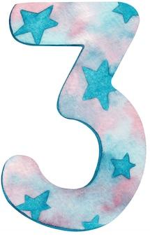 Numero tre dell'acquerello con colori e stelle rosa e blu.