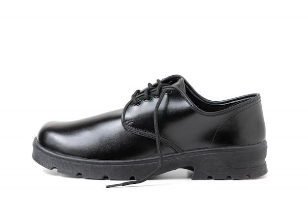Nuove scarpe dello studente del ragazzo di cuoio isolate