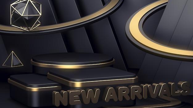 Nuovi arrivi. vetrina per la visualizzazione di tre prodotti. sfondo astratto. podio nero.