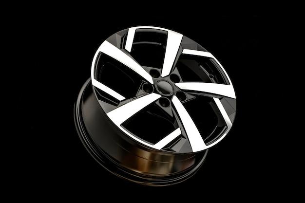 Nuovi cerchi in lega su fondo nero. elegante e bello. ricambi auto e tuning automatico.