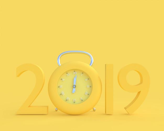 Nuovo anno 2019 concetto e orologio di colore giallo.