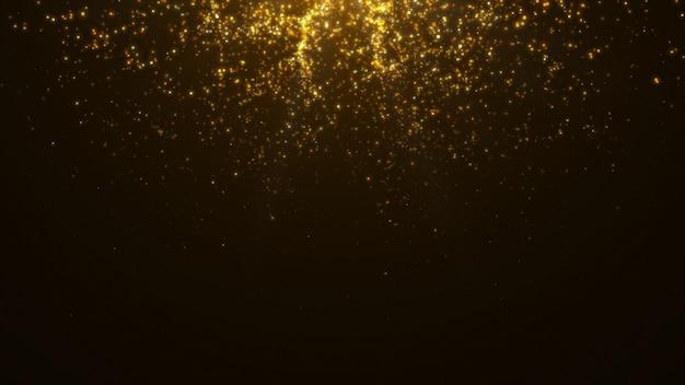 Nuovo anno 2020. sfondo bokeh. luci astratte. sfondo di buon natale. luce glitter oro. particelle sfocati. isolato su nero overlay. colore dorato