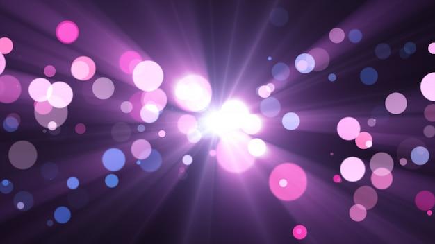 Nuovo anno 2020. sfondo bokeh. luci astratte. sfondo di buon natale. luce glitterata particelle sfocati. colori viola e rosa raggi al centro