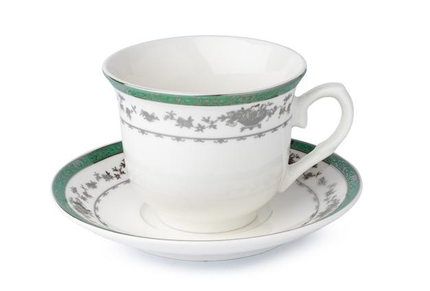 Nuovo paio di tè in porcellana isolato su sfondo bianco