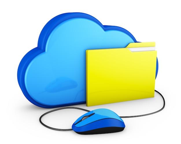 Nuvola blu e cartella gialla con il mouse del computer