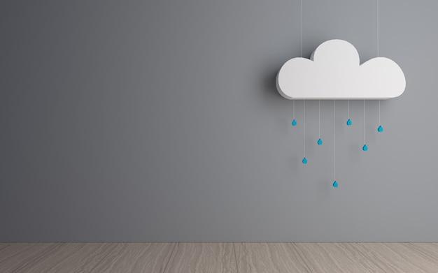 Nuvola decorativa con goccioline di pioggia in una stanza buia
