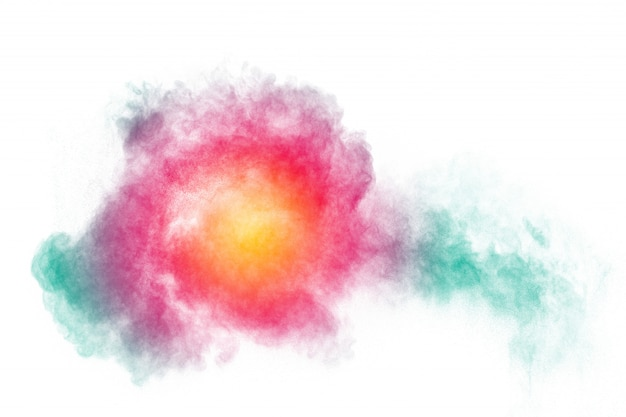 Nuvola di spruzzi di polvere di colore su sfondo. lanciate particelle colorate su sfondo.