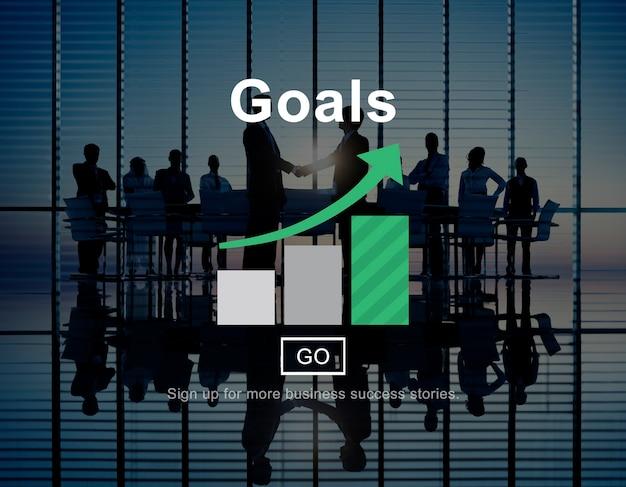Obiettivi obiettivi della missione obiettivo grafica concept