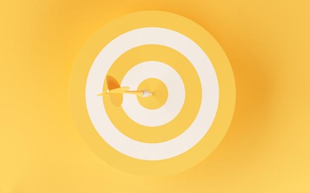 Obiettivo 3d su sfondo giallo.