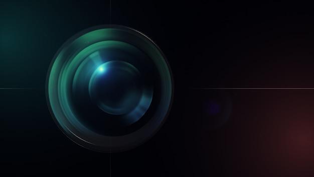 Obiettivo della fotocamera con riflessi lente. rendering 3d