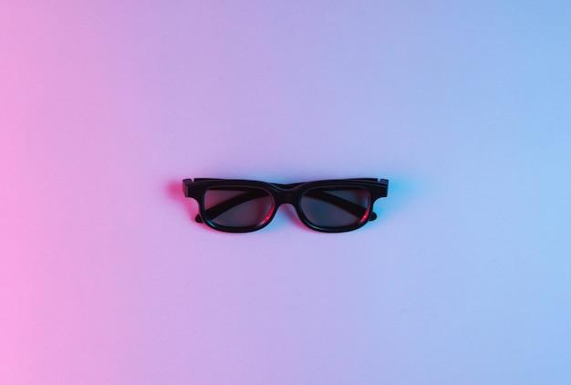 Occhiali 3d. luce al neon, minimalismo