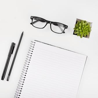 Occhiali; pianta in vaso; bloc notes; penna e matita su sfondo bianco