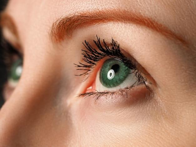 Occhio azzurro sinistro femminile colorato in verde con primo piano speciale per lenti a contatto