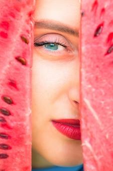Occhio tra fetta di anguria