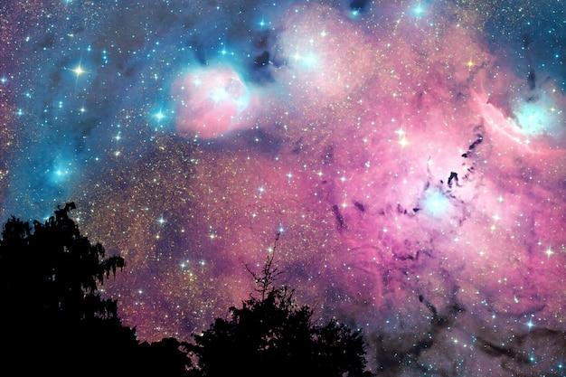 Offuschi la nebulosa della galassia indietro sul cielo della nuvola di notte sull'albero