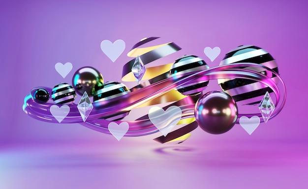 Oggetti galleggianti astratti violet color