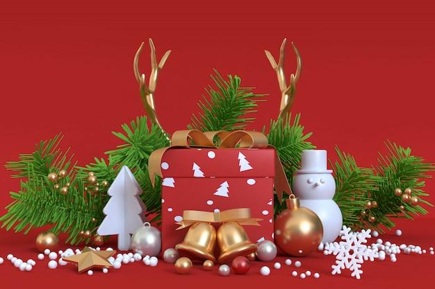 Oggetto astratto decorazione natalizia rendering 3d oro rosso