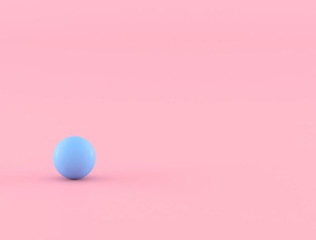 Oggetto geometrico astratto, sfera blu su fondo rosa, minimo, rappresentazione 3d