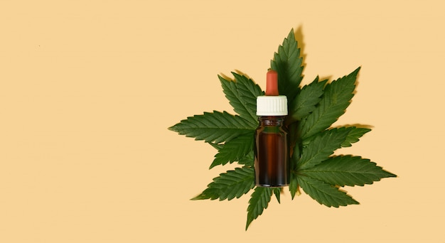 Olio di canapa cbd, flebo, bio-medicina ed ecologia, pianta di canapa, erba, medicina, olio di cannabis da estrazione medica