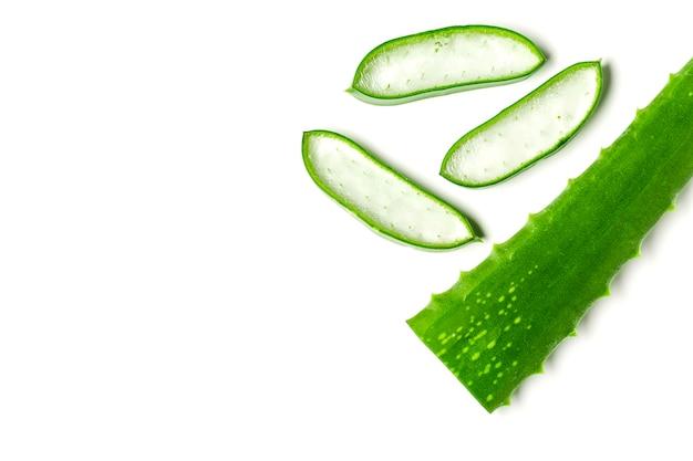 Olio essenziale di aloe vera isolato su uno spazio bianco. foglie fresche di aloe vera.