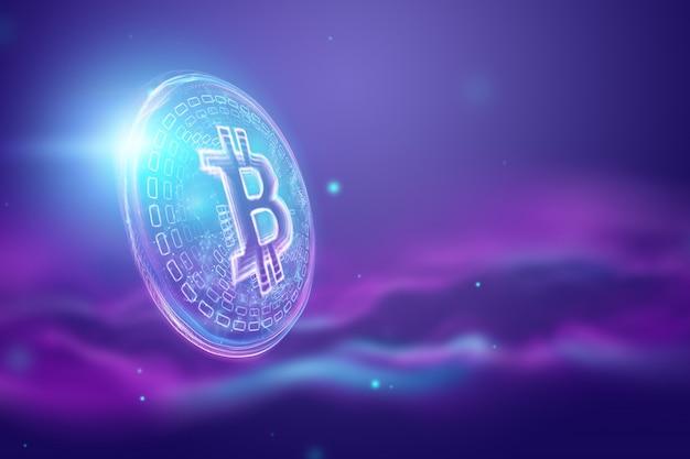 Ologramma bitcoin, criptovaluta, moneta elettronica, tecnologia blockchain, finanza