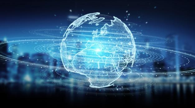 Ologramma della rete del globo con la rappresentazione della mappa 3d dell'europa