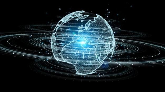 Ologramma della rete del globo con rappresentazione 3d della mappa di europa