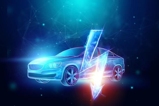 Ologramma di auto elettrica, segno di elettricità.