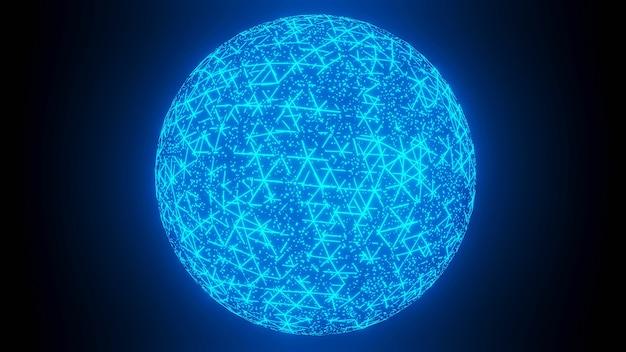 Ologramma rete di comunicazione globale animazione rotante