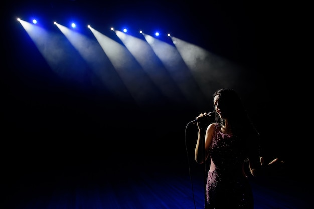 Ombra del cantante in luce sul palco