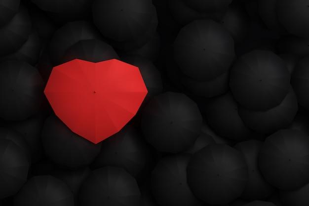 Ombrello a forma di cuore che sovrasta altri ombrelli. illustrazione 3d