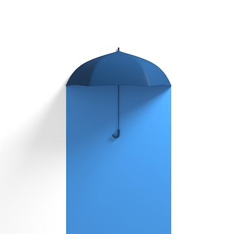 Ombrello blu galleggiante sul blu mezzo colore bianco