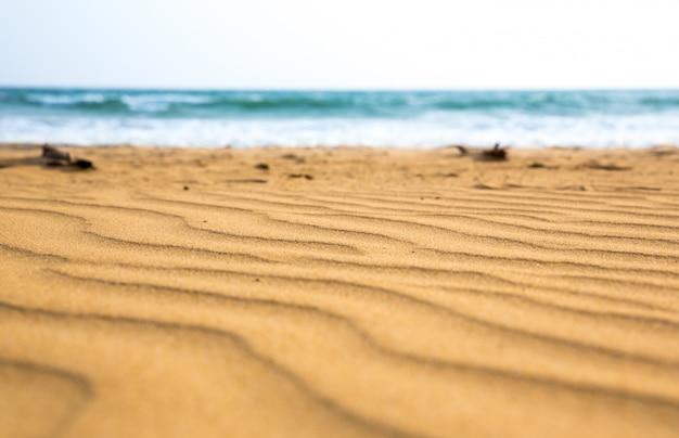Onde di sabbia sulla costa dello sri lanka, vista del fuoco selettivo. spiaggia di ceylon, oceano indiano