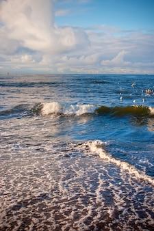 Onde sul mar baltico in autunno