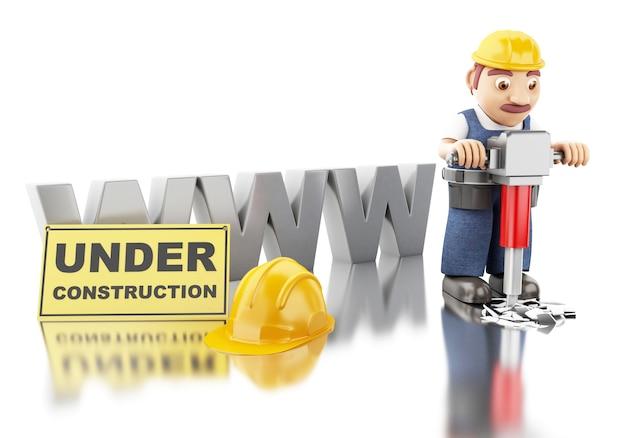 Operaio 3d con casco e martello pneumatico. costruzione di siti web