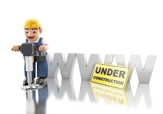 Operaio 3d con martello pneumatico. costruzione di siti web
