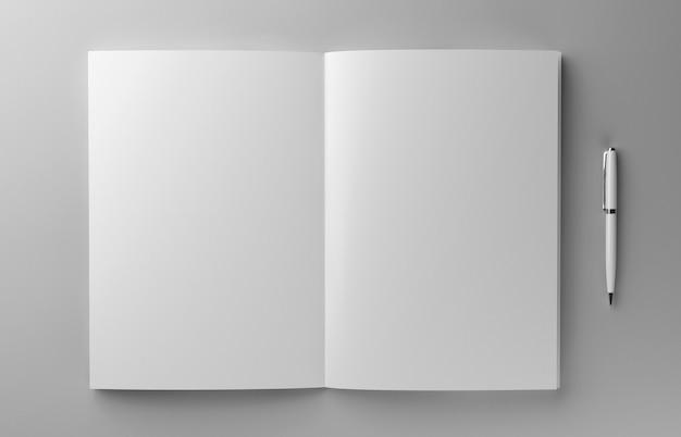 Opuscolo fotorealistico in bianco con la penna su fondo grigio chiaro, illustrazione 3d.