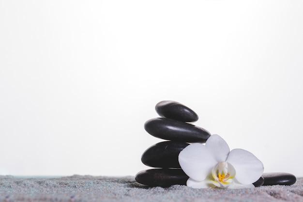 Orchidee e pietre su tovagliolo grigio