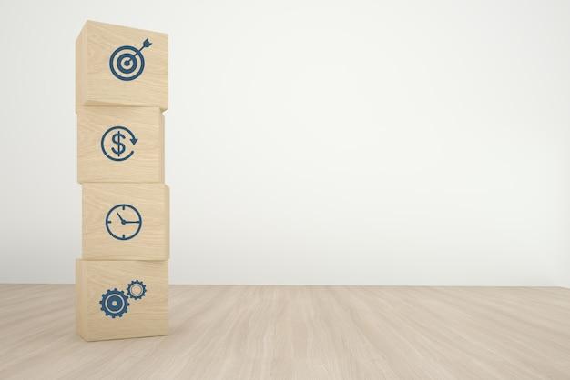 Organizzazione del blocco di legno del cubo che impila con la strategia aziendale dell'icona e piano d'azione su fondo di legno. concetto minimale