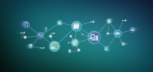Organizzazione logistica con rendering 3d icona e connessione