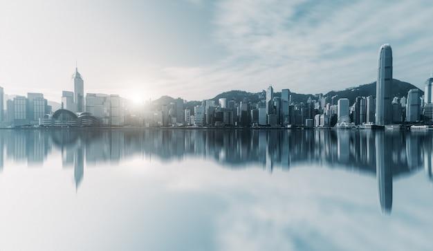 Orizzonte di hong kong urban architectural landscape