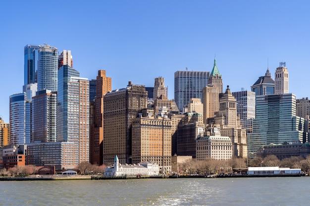 Orizzonte di lower manhattan della città di new york