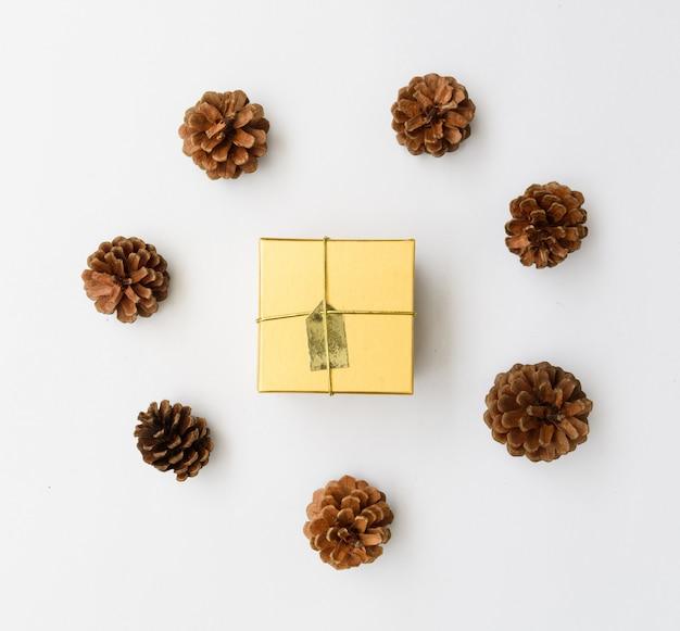 Ornamento di natale scatola regalo marrone e pigne fresco ramo verde su sfondo bianco, piatto laici
