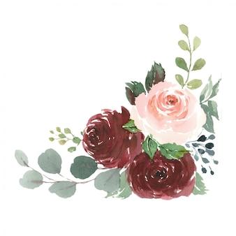 Ornamento di rose rosse per cancelleria di nozze, acquerello