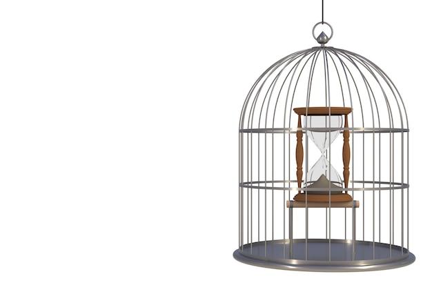 Orologio della sabbia dentro la gabbia per uccelli isolata su fondo bianco, rappresentazione 3d