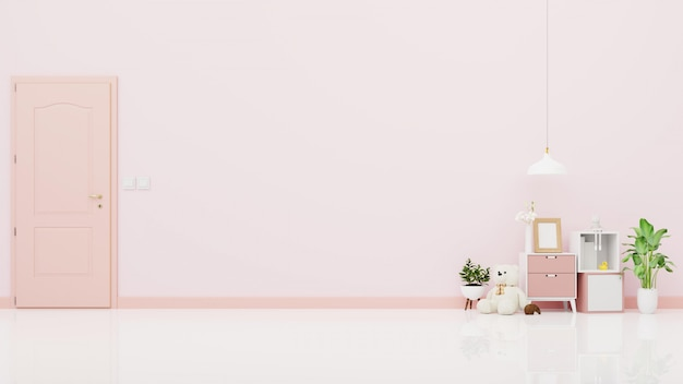 Orsacchiotto nella stanza dei bambini sulla parete rosa rappresentazione 3d