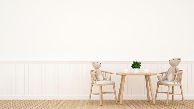 Orso bambola in sala da pranzo o stanza per bambini - rendering 3d