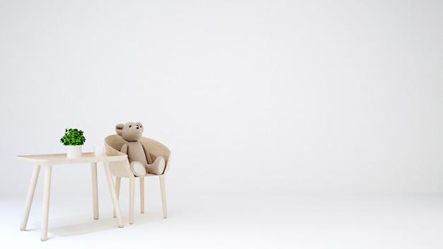 Orso dell'orsacchiotto nella stanza del bambino o nell'area vivente su fondo bianco - 3d r